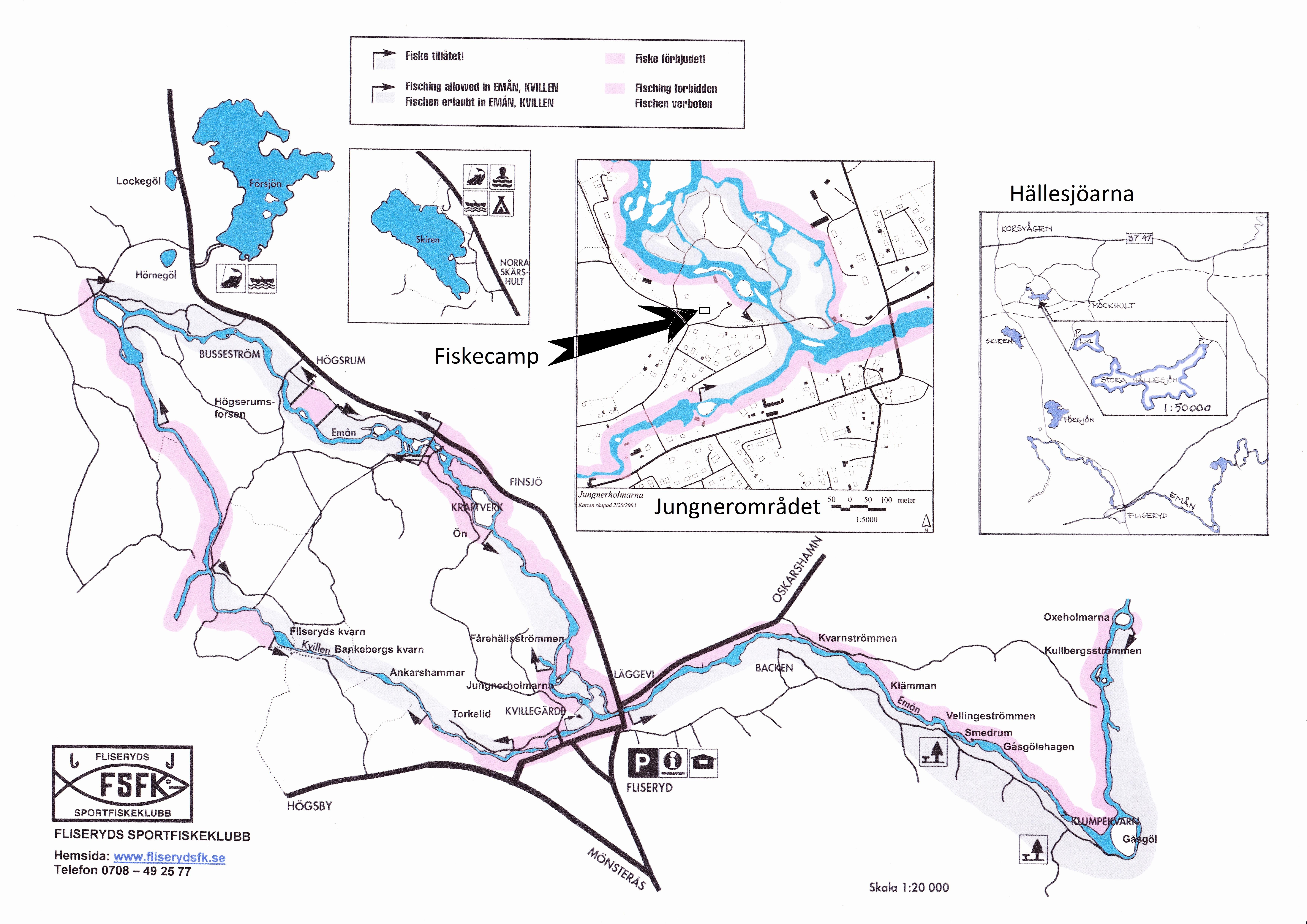Karta med Fliseryds sportfiskeklubbs fiskevatten