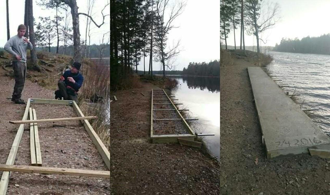 Christer (fotograf), Anders och Kevin bygger ny båtbrygga vid Stora Hällesjön.